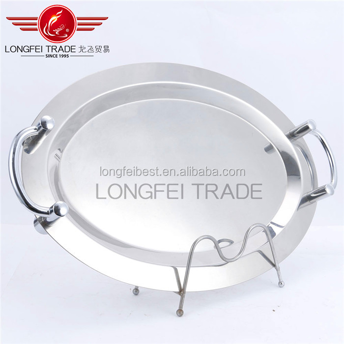 High quality mirror finishing stainless steel round serving tray dinnerware plate