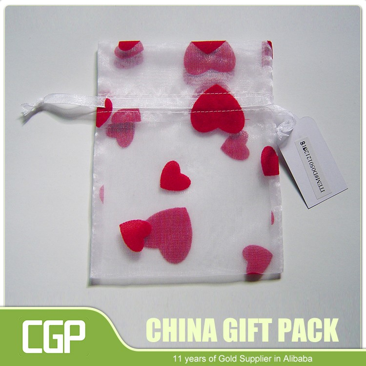 Custom size and color drawstring organza mesh bags for packaging