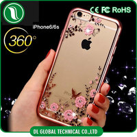 2016 new mobile case for girls Luxury Electroplate TPU secret garden case for iphone 6s with bling rhinestone DLPC228