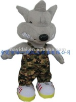 Lovely wolf in camouflage coat plush and stuffed toy