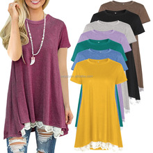 Multi-color optional poplin soft short sleeve o round neck stitching lace long T-shirt for women