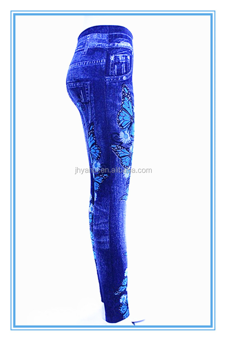 Ladies rhinestone butterfly jeans legging slim denim jegging