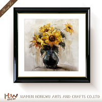 Printed Wall Art Modern Flower Abstract Yellow Flower Framed Oil Painting on Canvas Contemporary Artwork Floral Home Deco