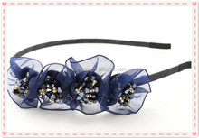 Fancy stylish ladies crystal blue sunflower alice band lace front hair band headband manufacturer