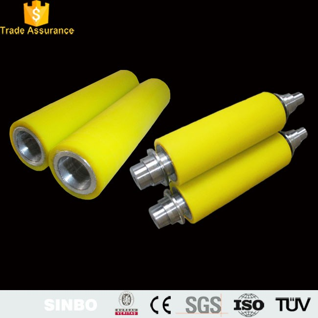 Wear-resisting PU lamination polyurethane rubber coated plastic roller with steel shaft for conveyor system