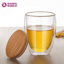 Best Selling Handmade Transparent Borosilicate Drinking Glass Cup With Bamboo Cover For Tea Coffee Espresso Juice
