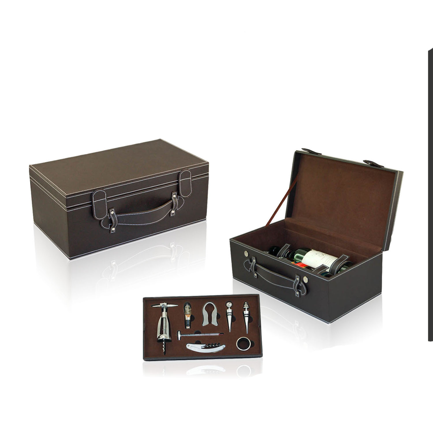 Single-bottle with tool set wooden wine case wine box