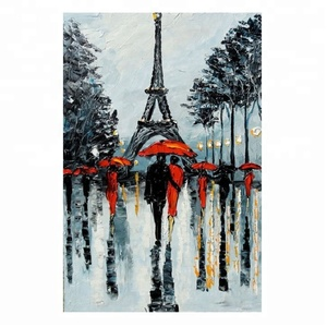 Home decoration abstract handmade street scenery oil painting on canvas