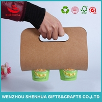 recycled kraft paper coffee cup carrier holder take away box