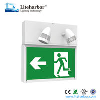 Twin Spot Exit Emergency Green UL Running Man LED Emergency Sign Lamp