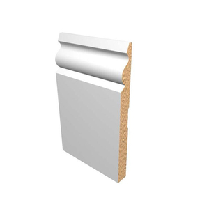 "Primed white baseboard 725 base 7-1/4"" flexible moulding Interior Building Materials"