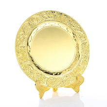Factorydirect sale production gold color round custom logo metal souvenir plate with gift box
