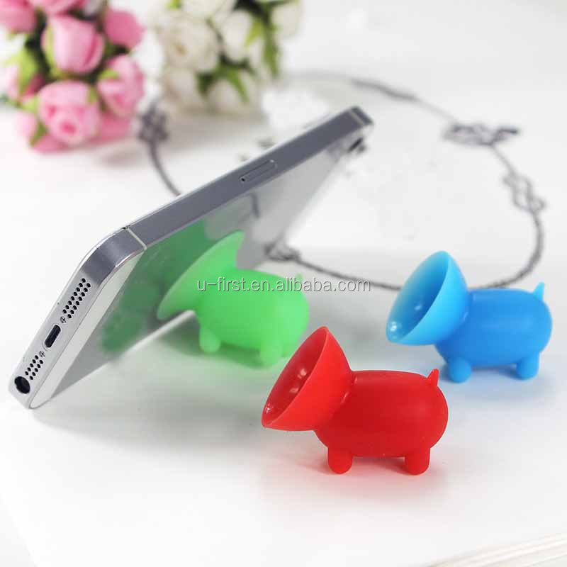 promotional products animal shape cute pig silicone Sucker Holder for iphone