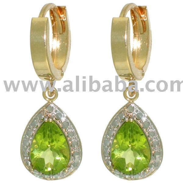 10K SOLID GOLD PERIDOT HUGGIES Earrings