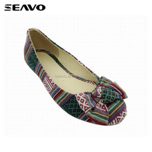SEAVO SS18 latest style flats cotton fabric flower bowknot chromatic summer casaul shoes for women