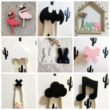 Cute Bunny Wooden Clothes Hook For Kids Room Wall Decorate Children Room Eco Friendly Flamingo Hanger Hook