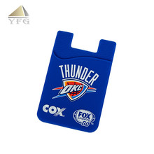 Durable custom logo slim silicone rubber 3m sticker card holder wallet