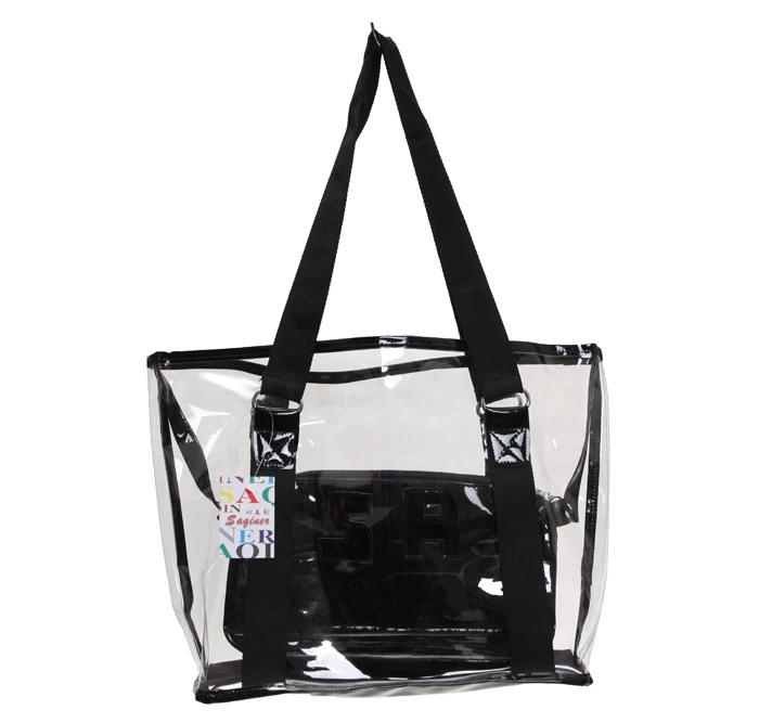 new arrival canvas stripe beach tote pvc bag wholesale(SD-BB-026)