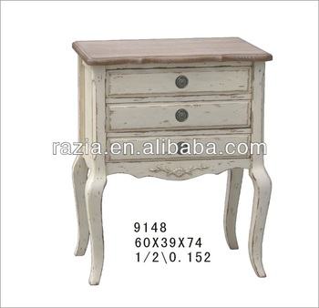 2014 Vintage antique furniture cabinet with three drawers birch wood 9148