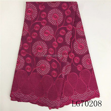 LG70208- Wholesale African Voile Textile Organic Cotton Lace Fabric with Stones Embroidery