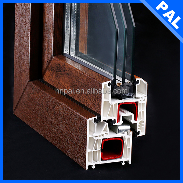 5 chambers Anti rot vinyl window extrusions With double gazed window