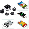ODM Portable 4 USB wall travel charger adapter for iphone For samsung with interchangeable plug