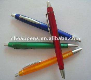 promotional plastic pen with metal clip