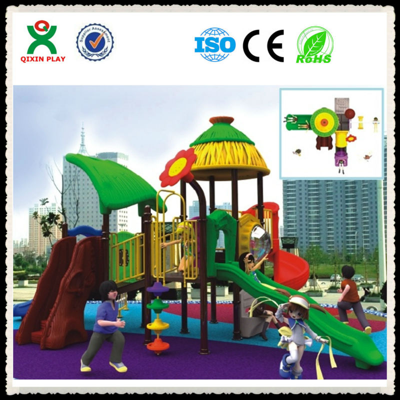 Cheap unique commercial outdoor plastic playground playsets for kids/ toddlers plastic outdoor children playsets flower QX-032B