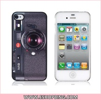 Camera Pattern PU Leather Back Surface Protective Case for iphone 4 4S Black