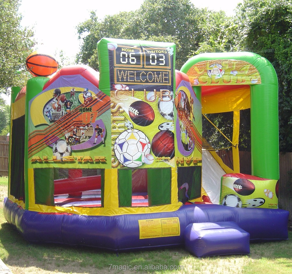 Sports 5 in 1 Inflatable combo bounce houses for sale