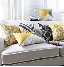Wholesale Zigzag Stripe Chevron Cushion Cover black and yellow pillow cover