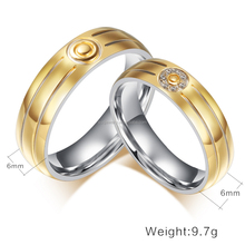 custom high quality stainless steel his and her wedding ring set hot jewelry style in europe