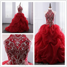 2018 Drama Quinceanera Gaun Leher garis Appliques Beaded Red Organza quinceanera gowns ED025201