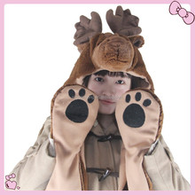 fashion animal paw gloves hat scarf gloves set for adult