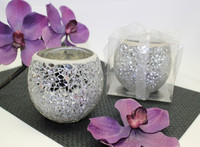 Silver crackle glass mosaic candle holder whole sale,ball shape mirror candle holder,glass candle jar
