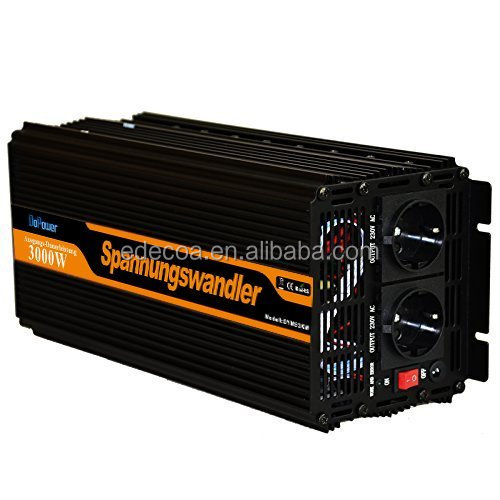 EDECOA Modified Wave Power Inverter 3000w <strong>DC</strong> 12v 24v to EU type AC 220v 230v 240v Converter with Remote Control & Silent Fan