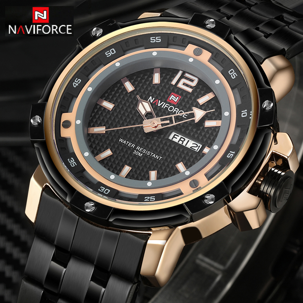 2016 NAVIFORCE Luxury Brand Military Watches Men Quartz Watch Full Steel Clock Man Sports Watch