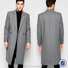 chinese clothing manufacturers mens longer length wool overcoat grey