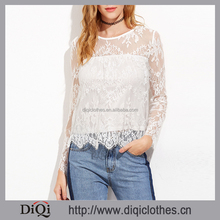 2017 New arrival designer Spring girls Plain White Long Sleeve Buttoned Keyhole Back Floral Lace Top