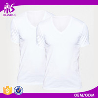 2016 Guangzhou Shandao OEM Custom Plain Color V-Neck Short Sleeve 160g 98% Cotton 2% Polyester No Name Brand T-shirts