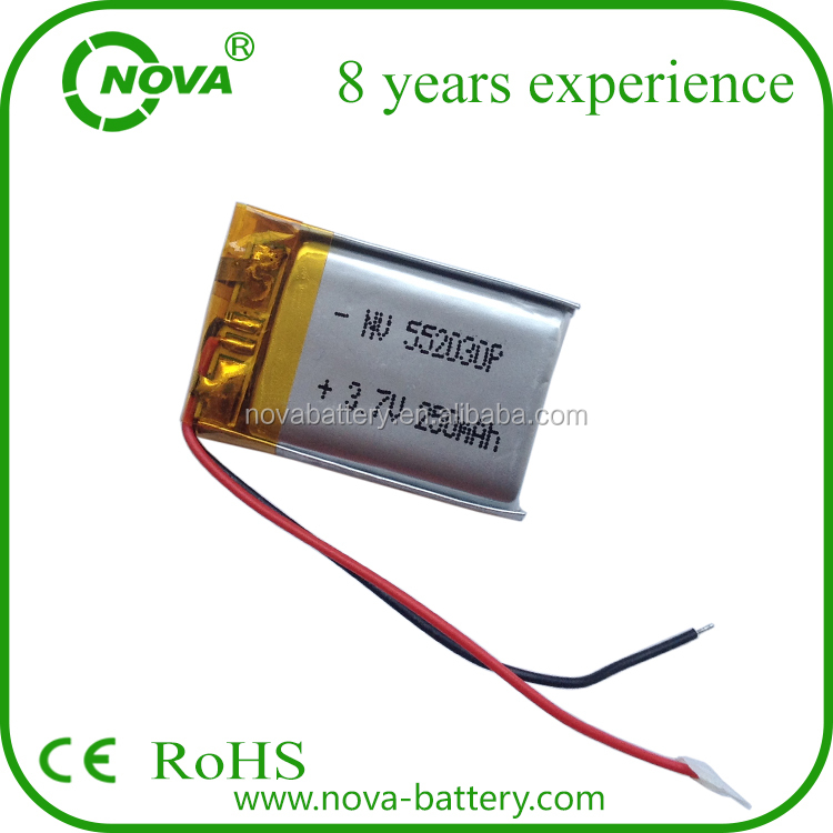 lithium polymer 3.7v 240mah rechargeable li polymer battery 552030 battery