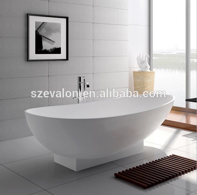 Round composite stone resin terrazzo bathtub freestanding for Freestanding stone resin bathtubs