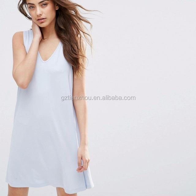 White casual sleeveless V neck swing dress for girls china 2016
