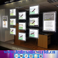 Estate agent led light pocket led crystal light box window acrylic poster frame