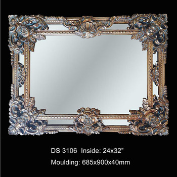 Polyresin large baroque salon wall mirrors buy salon for Baroque resin mirror