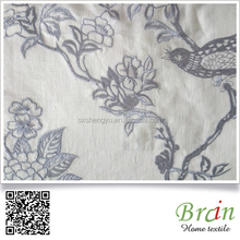 2016 Diffen style birds and tree elegant fashion style high quality Linen viscose computer embroidery curtain fabric