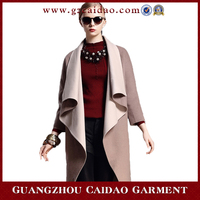 2015 Latest design lady woolen long fancy coat