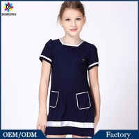 2015 Summer Simple Short Sleeve With Pockets Girls Frock Patterns Pakistani Children Frocks Designs