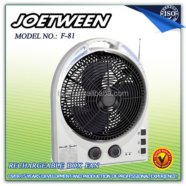 Rechargeable large battery powered fan F81 with raio & Led light
