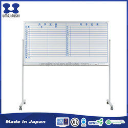Slightly slanted design firmly fixed durable whiteboard with grid lines